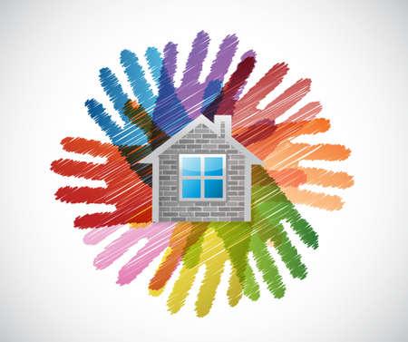 assistance: home over diversity hands circle illustration design concept Illustration