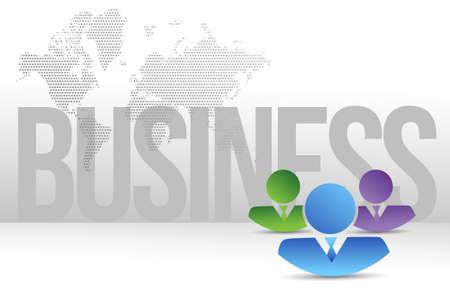 co workers: working team over a business sign background illustration design Illustration