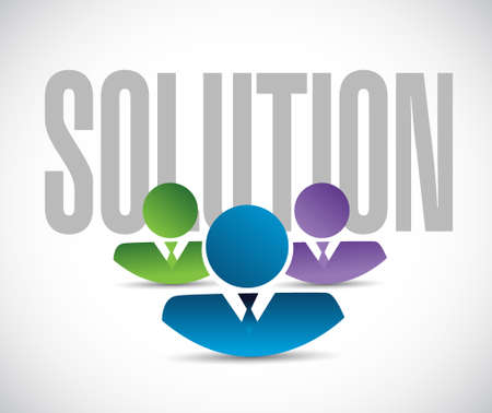solution team sign illustration design graphic over white Ilustração