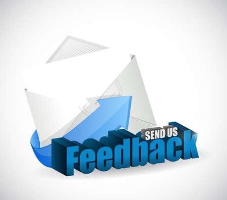 send us feedback mail sign illustration design over white