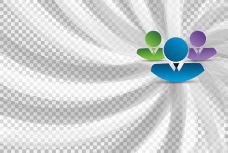 white wave: business teamwork avatars over a turning white wave background Illustration