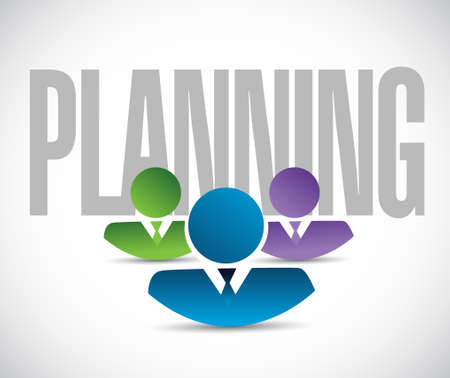 publicity: planning team sign illustration design graphic over white