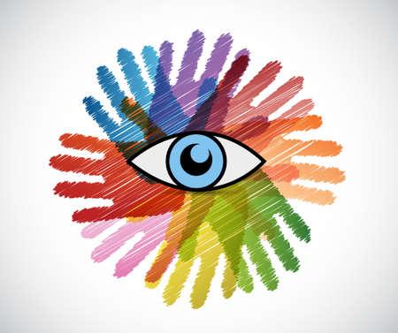 looks: eye over a color hands diversity concept. illustration design Illustration