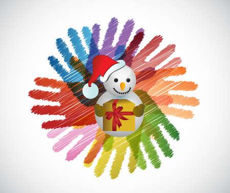 diversidad: muñeco de nieve sobre las manos círculo de la diversidad de la ilustración concepto de diseño Vectores