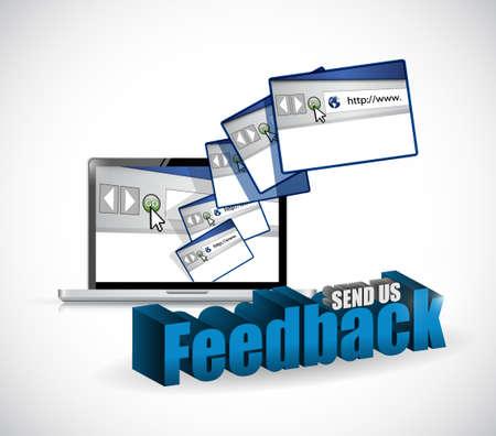 electronic survey: send us feedback browsers sign illustration design over white Illustration