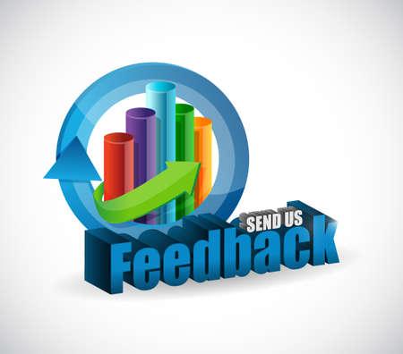 send us feedback business graph sign illustration design over white