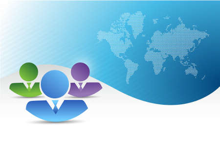co workers: business team. teamwork concept over a wave blue background