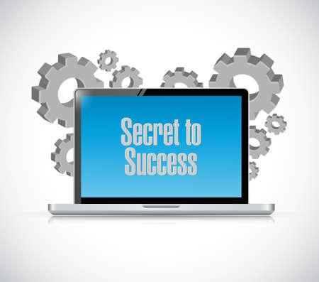 secrets: secret to success laptop computer sign concept illustration design graphics Illustration