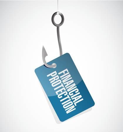 financial protection: Financial Protection hook sign concept illustration design graphic