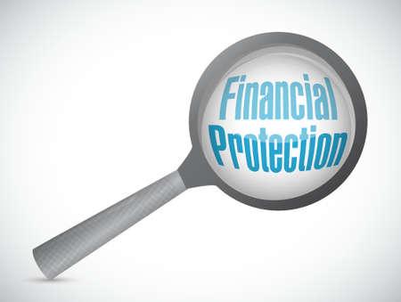 financial protection: Financial Protection magnify glass sign concept illustration design graphic