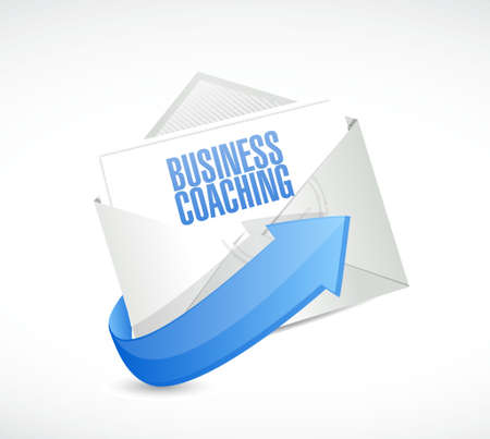 career coach: business coaching mail sign concept illustration design graphic