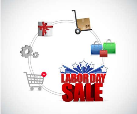 labor market: labor day sale cycle sign illustration design graphic