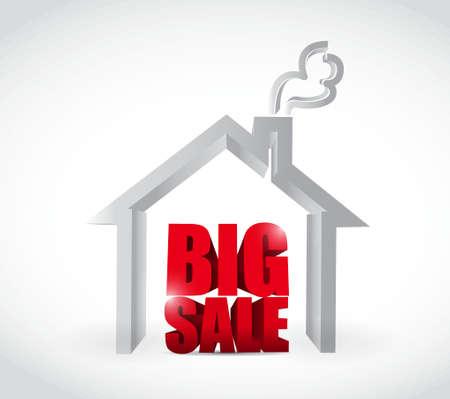 foreclosure: Big sale real estate business sign illustration design icon graphic