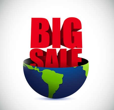 business sign: Big sale inside a globe business sign illustration design icon graphic Illustration