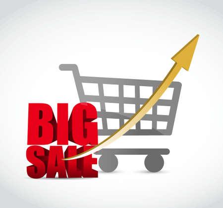 Big sale shopping cart graph business sign illustration design icon graphic Ilustrace