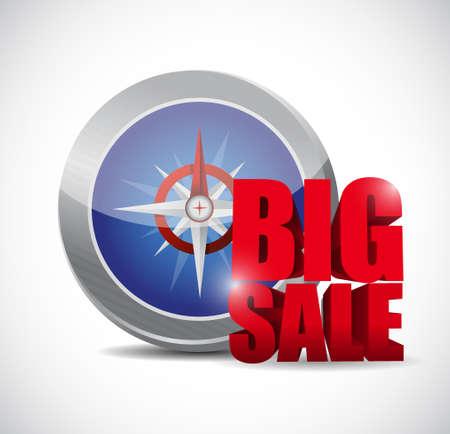 business sign: Big sale compass business sign illustration design icon graphic Illustration