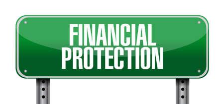 financial protection: Financial Protection post sign concept illustration design graphic