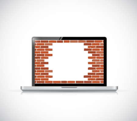 Laptop firewall broken concept illustration. unsecured computer design