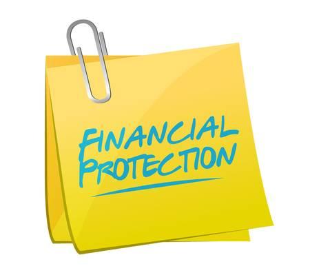 financial protection: Financial Protection memo post sign concept illustration design graphic Illustration