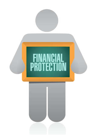private security: Financial Protection people sign concept illustration design graphic Illustration
