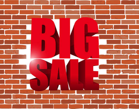 advertisements: Big sale text breaking a brick wall. business sign illustration design icon graphic Illustration