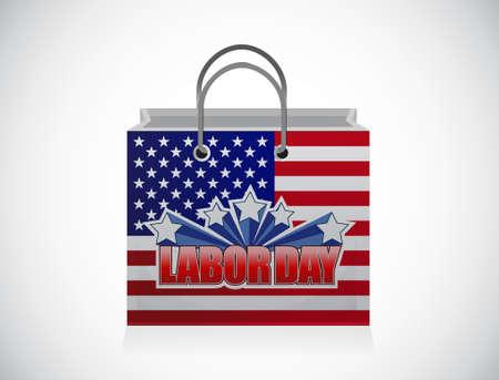 labor day shopping bag sign illustration design graphic