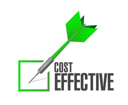 Kosteneffectieve controle goedkeuring teken concept, illustratie, grafisch