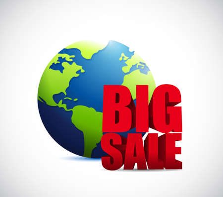 advertisements: Big sale international globe business sign illustration design icon graphic