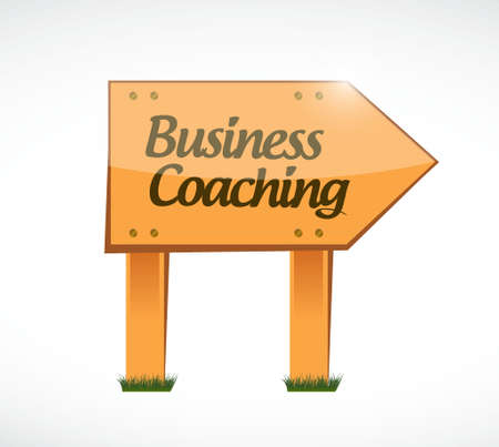 career coach: business coaching wood sign concept illustration design graphic Illustration