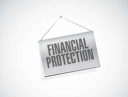 hanging banner: Financial Protection hanging banner sign concept illustration design graphic Vectores