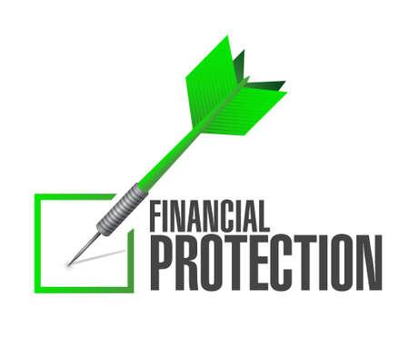 financial protection: Financial Protection approval dart sign concept illustration design graphic