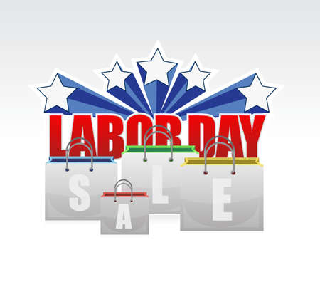 labor day: labor day sale shopping bags sign illustration design graphic