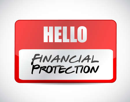 Financial Protection name tag sign concept illustration design graphic