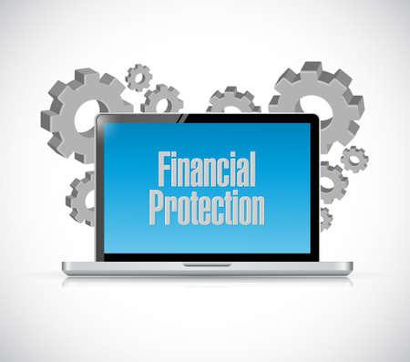 computer tech: Financial Protection tech computer sign concept illustration design graphic Illustration