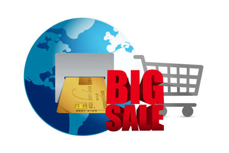 shopping malls: Big sale. credit card and shopping cart business sign illustration design icon graphic