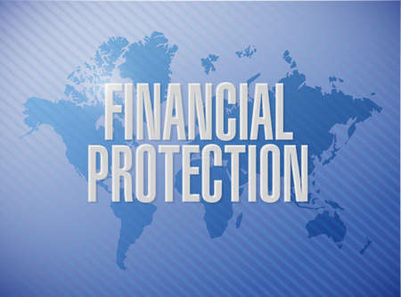 secret society: Financial Protection world map sign concept illustration design graphic