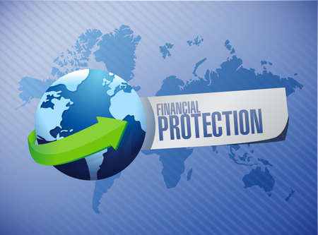 financial protection: Financial Protection international background sign concept illustration design graphic