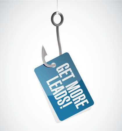 Get More Leads fishing hook sign illustration design graphic