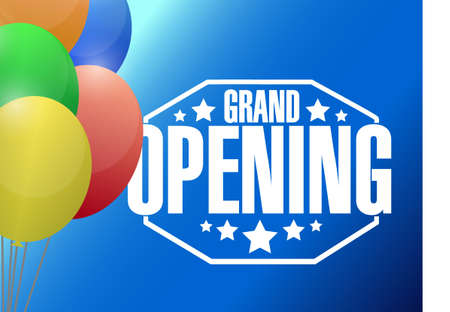 opening: grand opening sign stamp and balloons background illustration design