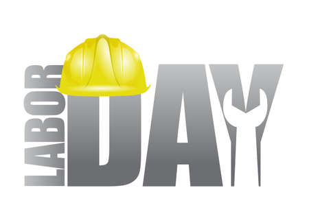 labor: Labor day workers helmet and wrench sign illustration design icon graphic
