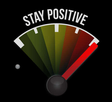 power failure: stay positive meter sign illustration design graphic