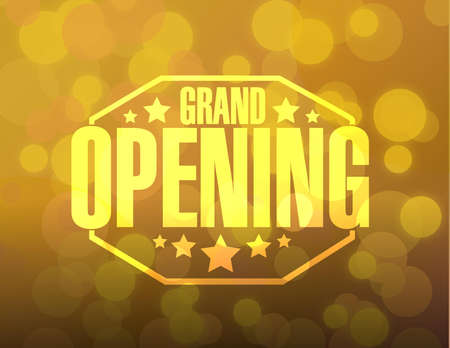 opening: grand opening sign stamp bokeh background illustration design