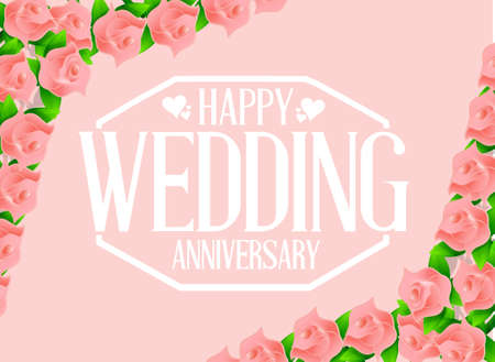 adulation: Happy weeding anniversary seal over a floral background