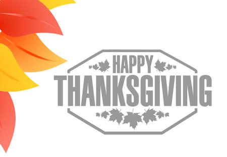 pocahontas: Happy thanksgiving stamp illustration design and autumn leaves Illustration
