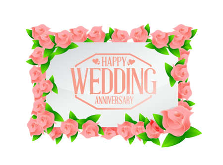 cherishing: Happy weeding anniversary stamp floral board illustration design graphic Illustration