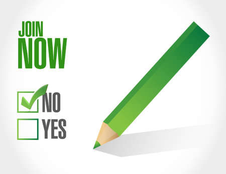 check sign: Join Now negative check mark sign concept illustration design graphic