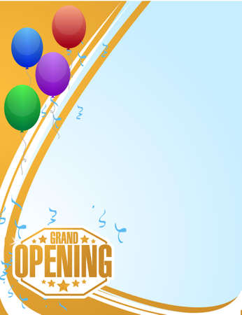 graphic display cards: grand opening celebration balloons background illustration design
