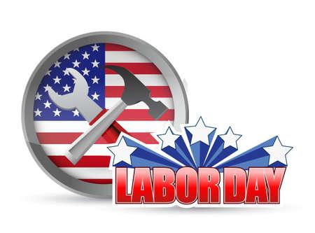 米国幸せな労働者の日労働者ツールとフラグ サイン イラスト デザイン アイコン グラフィック