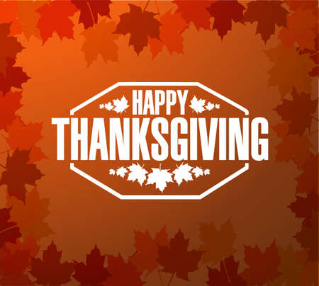 happy thanksgiving: Happy thanksgiving stamp illustration sign over red autumn leaves background Illustration