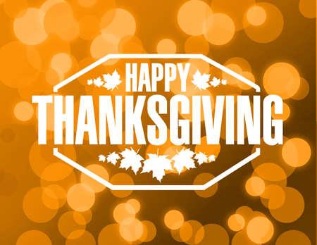 thanksgiving day symbol: felice compleanno timbro di arancione bokeh illustrazione grafica
